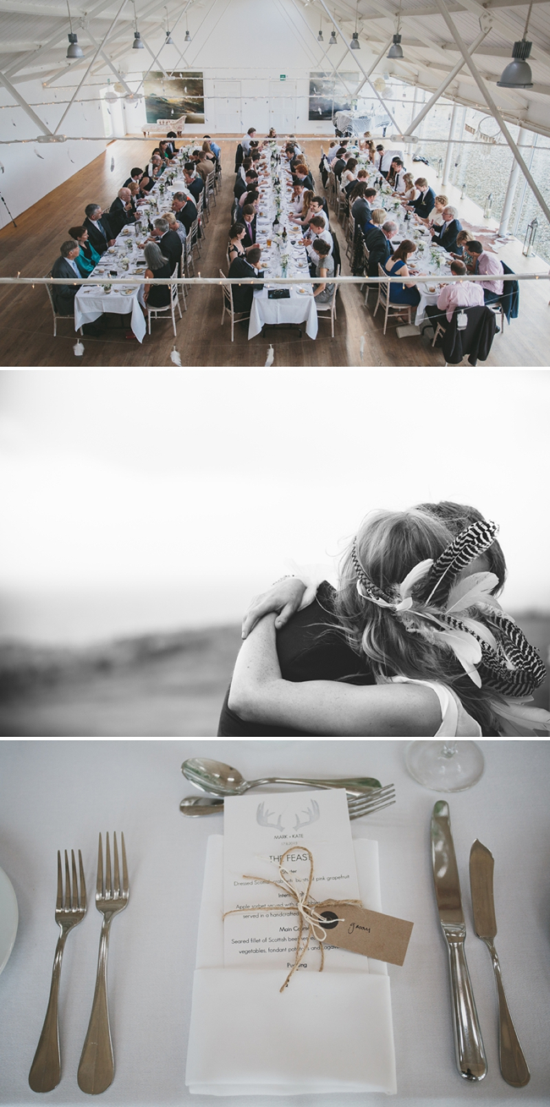 A beautiful modern wedding at Crear in Scotland with a sarah foy dress and feather headdress_0592