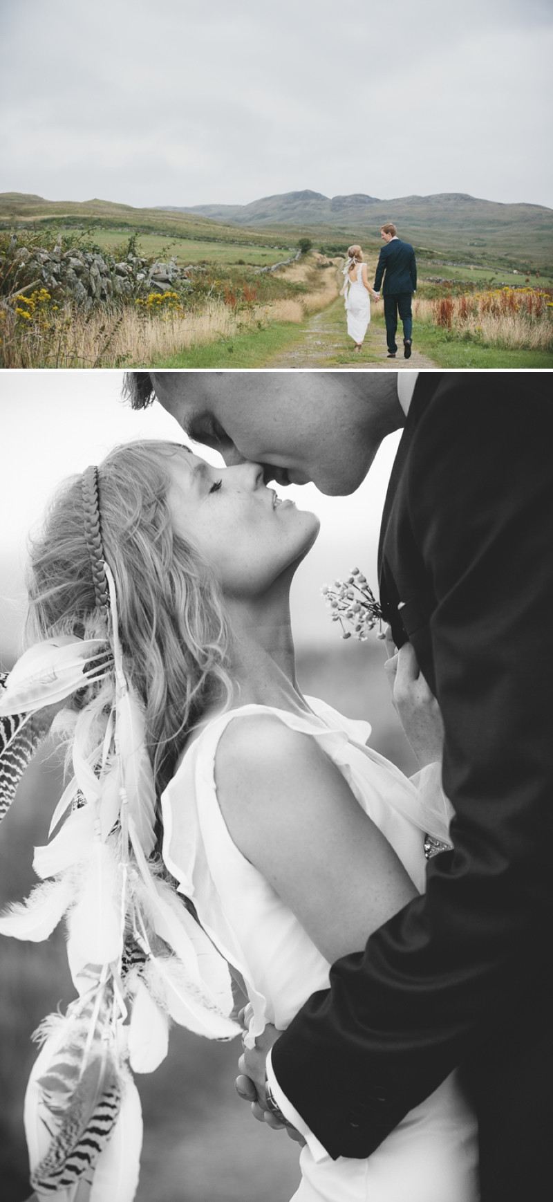 A beautiful modern wedding at Crear in Scotland with a sarah foy dress and feather headdress_0594