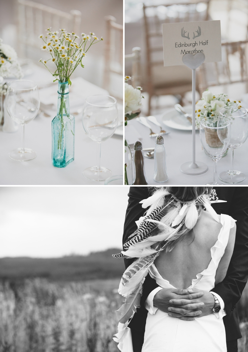 A beautiful modern wedding at Crear in Scotland with a sarah foy dress and feather headdress_0597