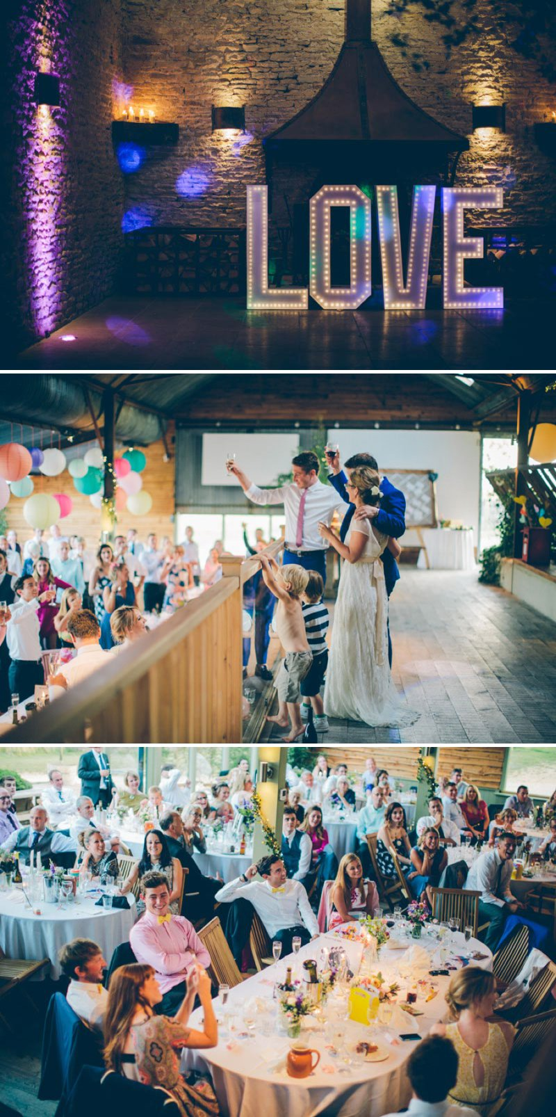 Colourful Contemporary Wedding At Cripps Stone Barn In The Cotswolds With Bride In Charlie Brear Gown And Gold Jimmy Choo Peeptoes And Groom In Bespoke Suit By Marc Wallace With Groomsmen In Bowties 7