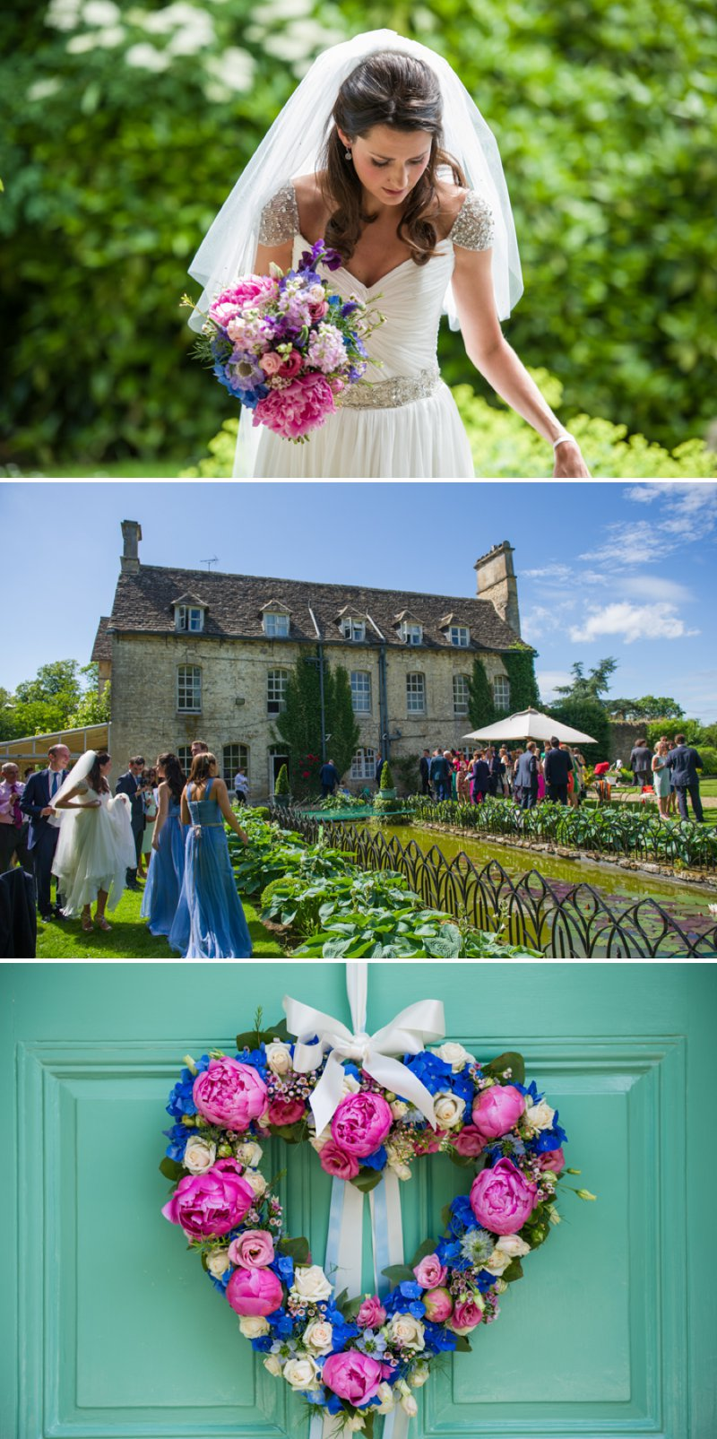 Traditional White Wedding At The Rectory In Wiltshire With Bride In Bespoke Gown And Vibrant Blue Hydrangeas And Hot Pink Peonies In Wedding Flowers 1