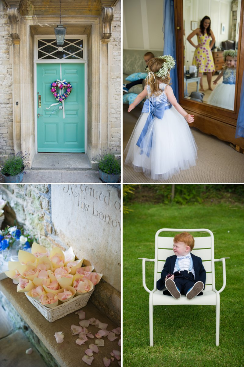 Traditional White Wedding At The Rectory In Wiltshire With Bride In Bespoke Gown And Vibrant Blue Hydrangeas And Hot Pink Peonies In Wedding Flowers 2