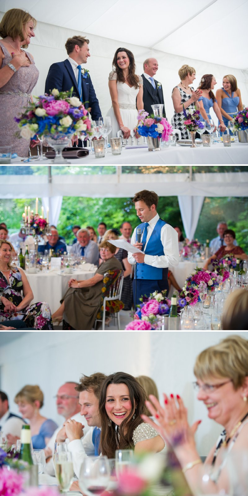 Traditional White Wedding At The Rectory In Wiltshire With Bride In Bespoke Gown And Vibrant Blue Hydrangeas And Hot Pink Peonies In Wedding Flowers 8