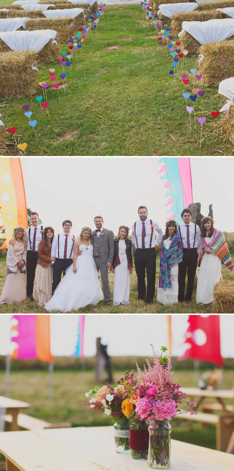 A Glastonbury Themed Bohemian Wedding In Worcestershire With Yurts, Glamping, Food Vans And A Bonfire And Bride In A Floral Crown With Images From Camera Hannah And Event Planning By Jessie Thomson 1