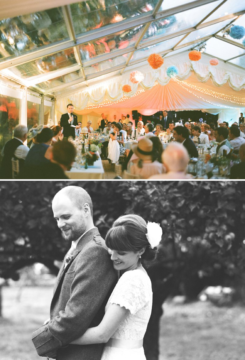A Marquee Wedding In Buckinghamshire With A Country Fete Theme With Bride In Vintage Tea Length Dress From Heavenly Vintage Brides And Groom In Douglas Tartan Kilt Images Shot On Film By Peachey Photography 10