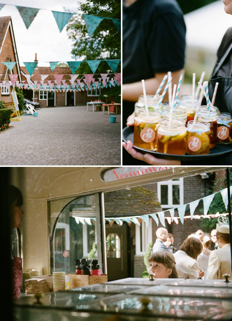 A Marquee Wedding In Buckinghamshire With A Country Fete Theme With Bride In Vintage Tea Length Dress From Heavenly Vintage Brides And Groom In Douglas Tartan Kilt Images Shot On Film By Peachey Photography 5