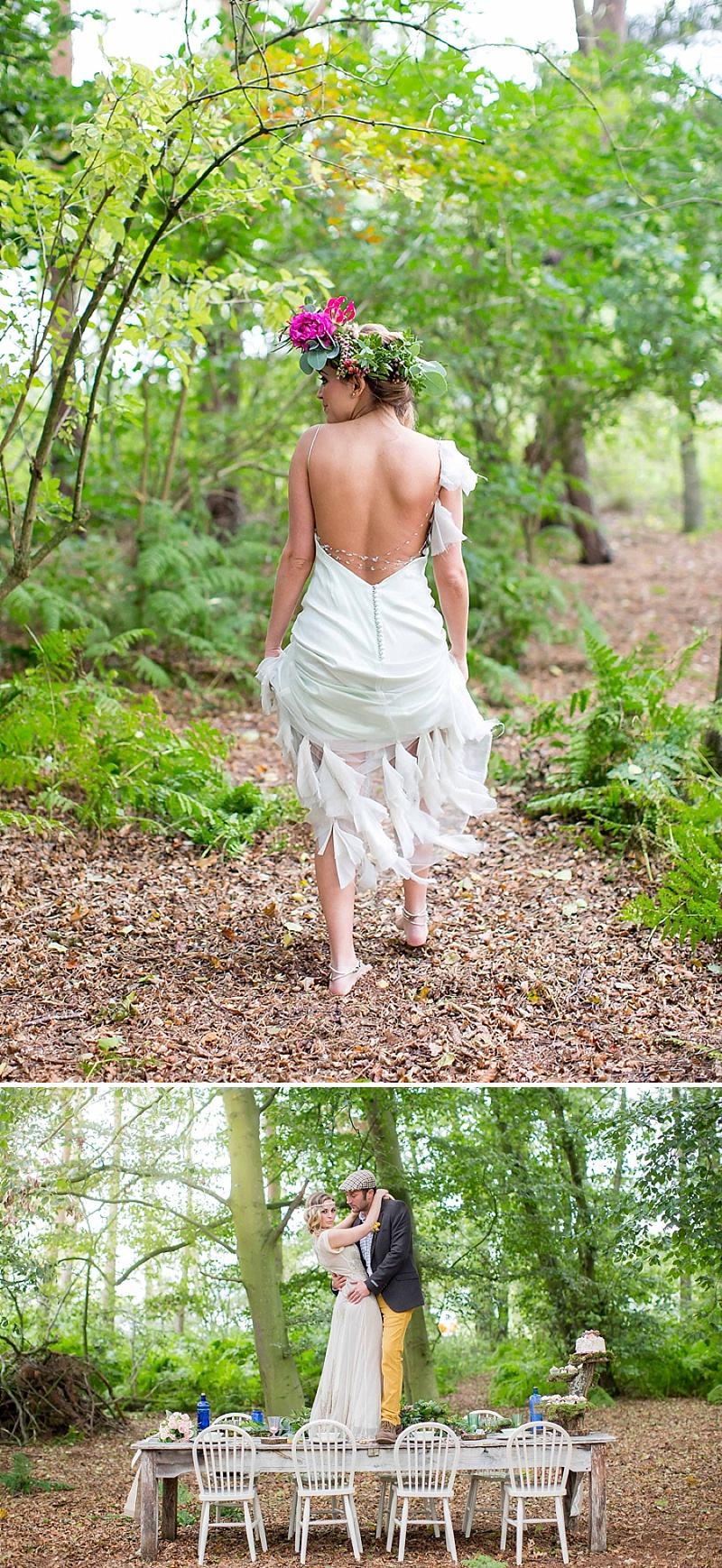 A bohemian wedding inspiration feature with a fresh flower crown backless dress and cute retro camper van_0062