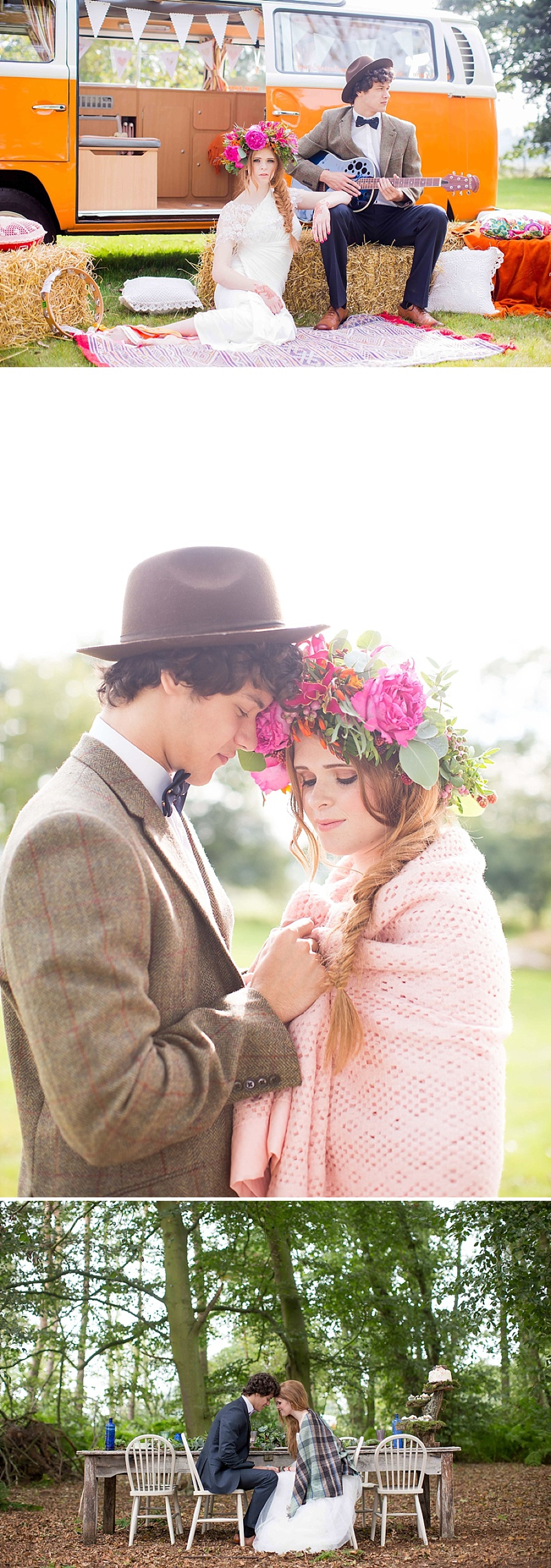 A bohemian wedding inspiration feature with a fresh flower crown backless dress and cute retro camper van_0063