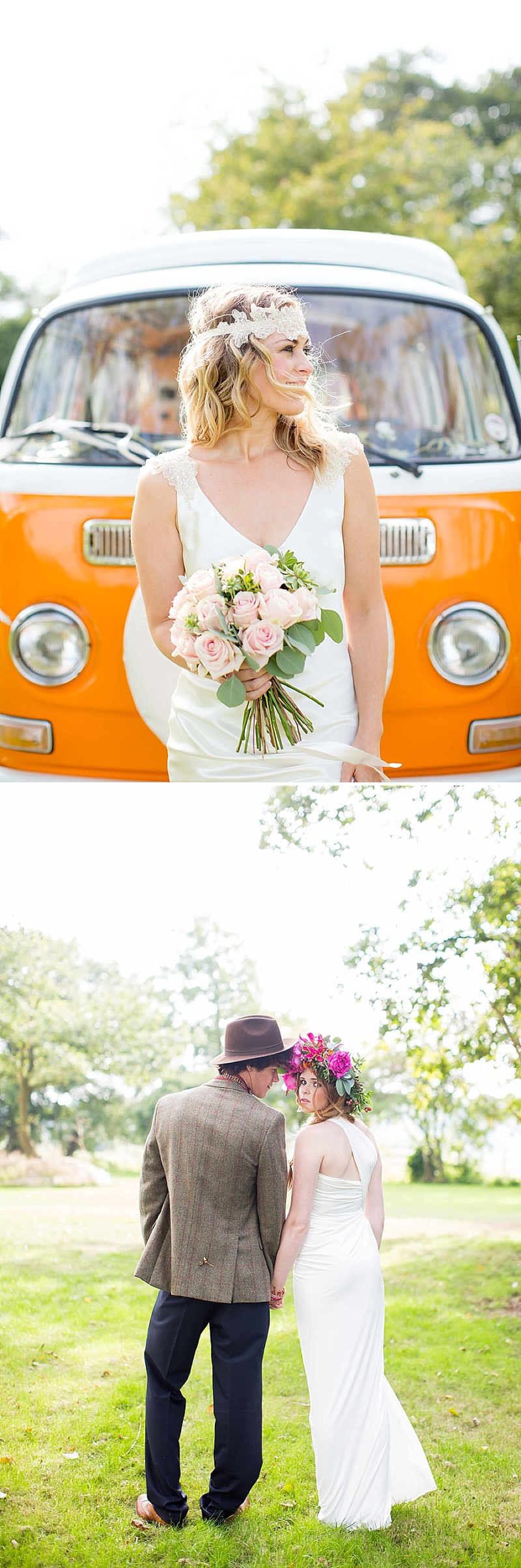 A bohemian wedding inspiration feature with a fresh flower crown backless dress and cute retro camper van_0064