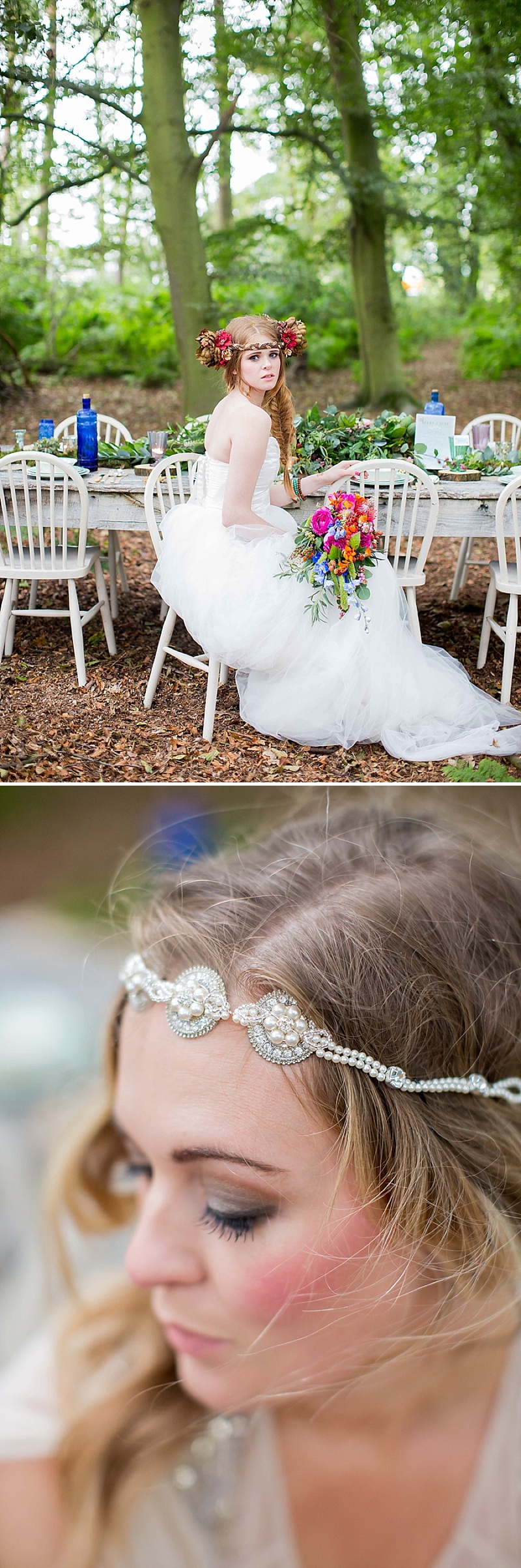 A bohemian wedding inspiration feature with a fresh flower crown backless dress and cute retro camper van_0066