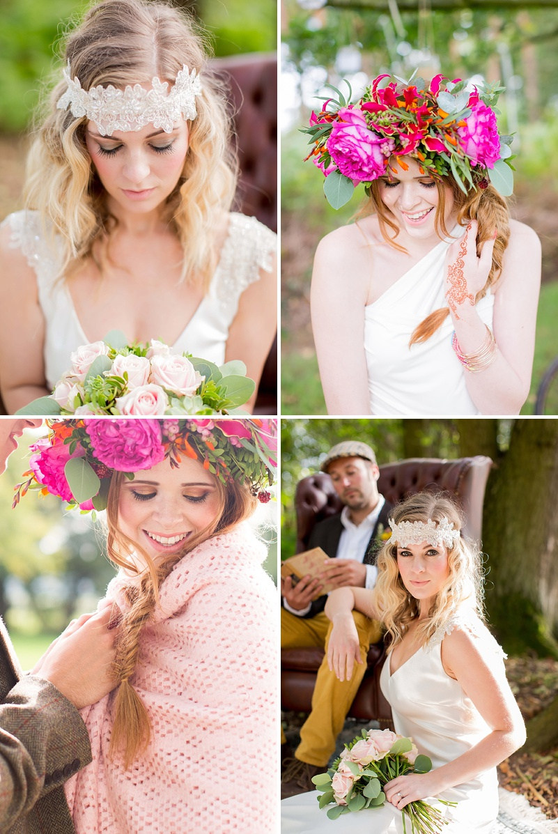 A bohemian wedding inspiration feature with a fresh flower crown backless dress and cute retro camper van_0067