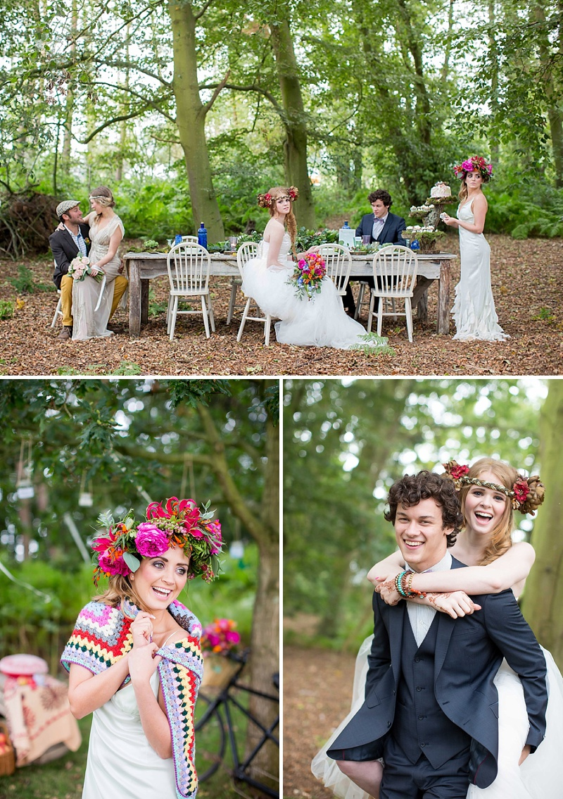A bohemian wedding inspiration feature with a fresh flower crown backless dress and cute retro camper van_0068