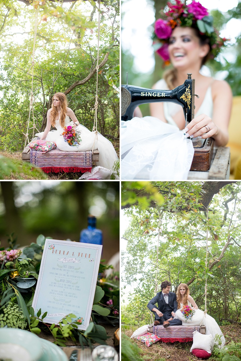 A bohemian wedding inspiration feature with a fresh flower crown backless dress and cute retro camper van_0069