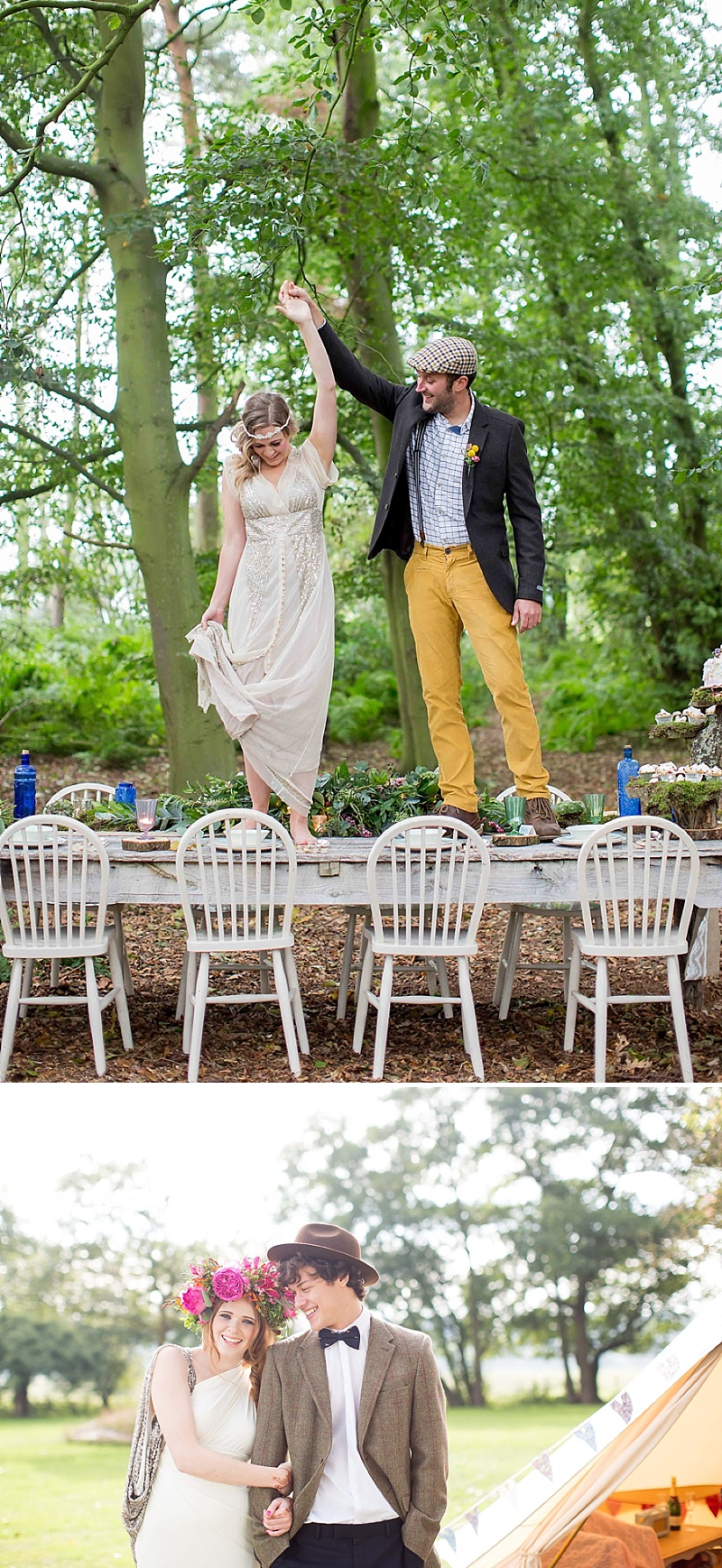 A bohemian wedding inspiration feature with a fresh flower crown backless dress and cute retro camper van_0070