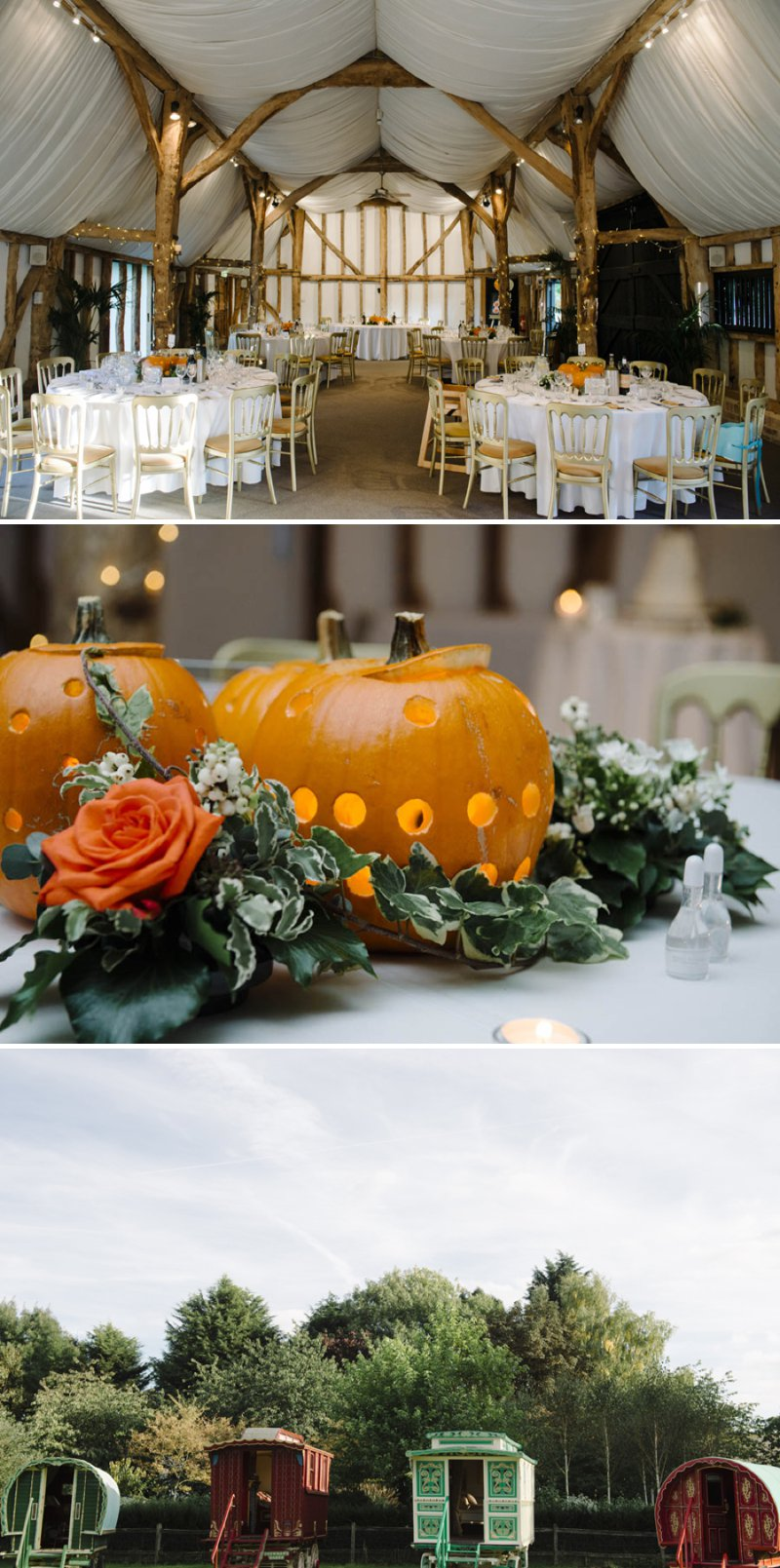 Autumnal Farm Wedding At South Farm In Cambridgeshire With Bride In Mermaid Style Lace Gown With Pumpkins For Table Centre Pieces 6