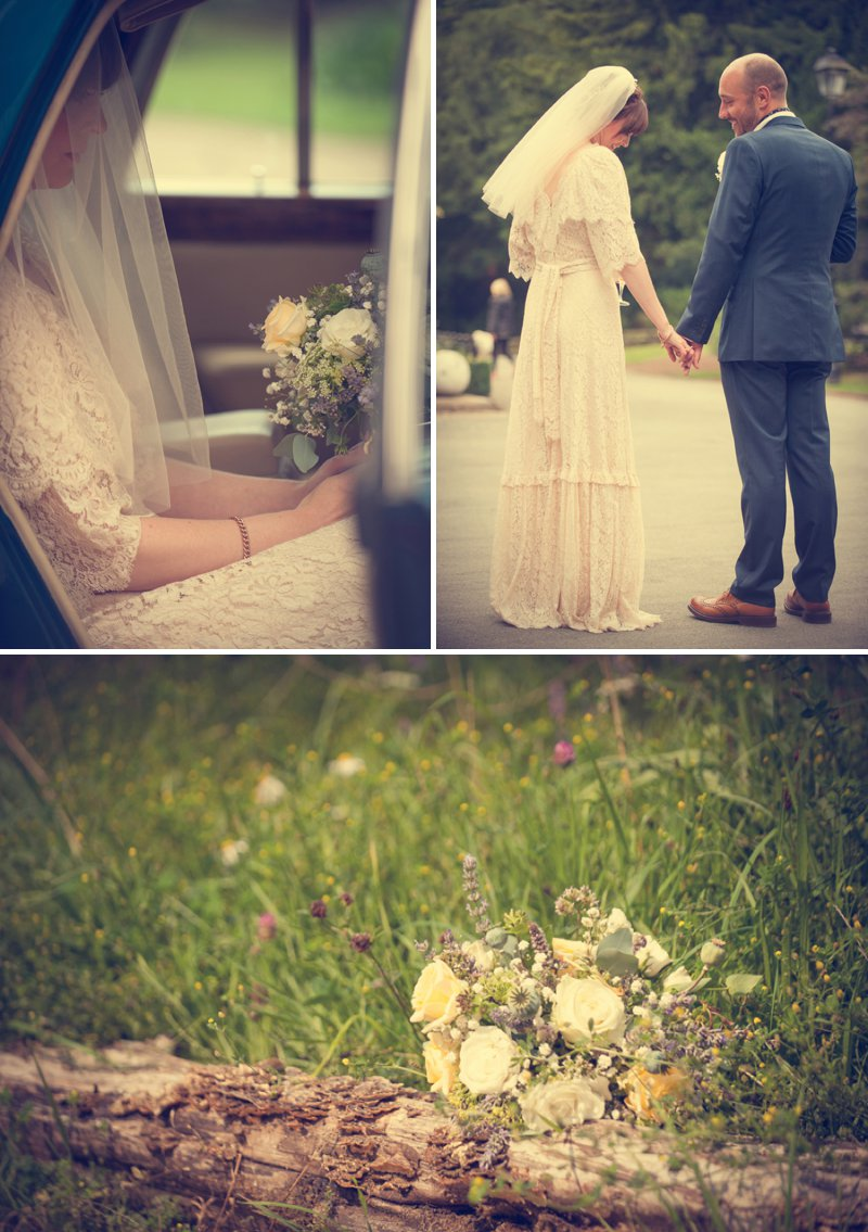 A 70s Inspired Wedding With A Pastel Colour Scheme And Bride In Vintage Lace Dress Found On Ebay And Groom In Navy Three Piece Suit By Paul Smith With Images From Steve Longbottom Mr Sleeve Wedding Photography 1