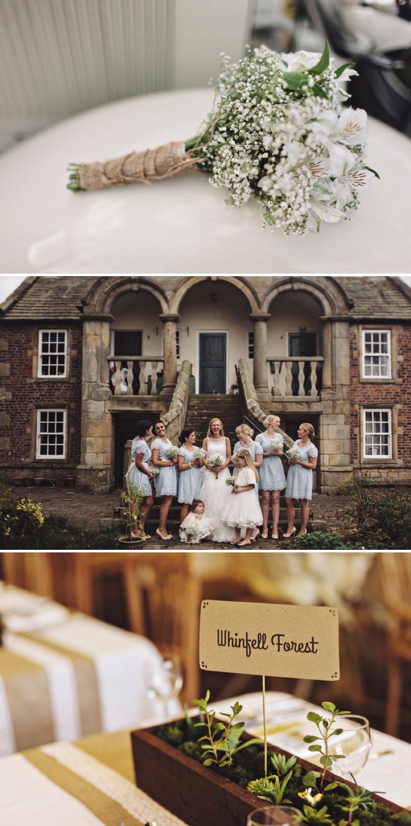 A Rustic Village Hall Wedding With A Blue And Gold Colour Scheme And Stag Graphic Across The Stationery With Bride In Bespoke Dress By Chic Dress And Groom In Brown Suit With Bridesmaids In Baby Blue Dresses With Broderie Anglaise Detail 1