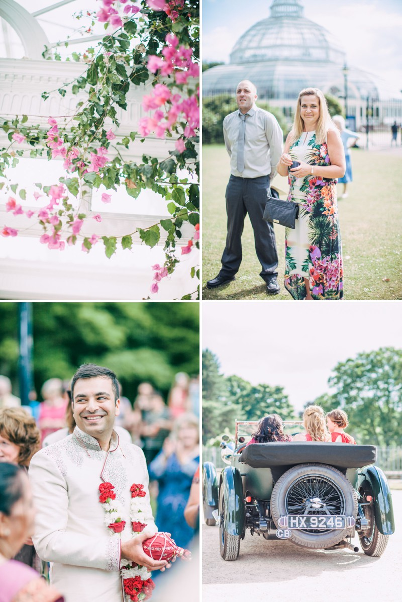 An Exotic Indian and English Fusion Wedding At Sefton Park Palm House In Liverpool With A Beautiful Vintage Lagonda And A Pink Handpicked Bouquet By Wookie Photography._0003