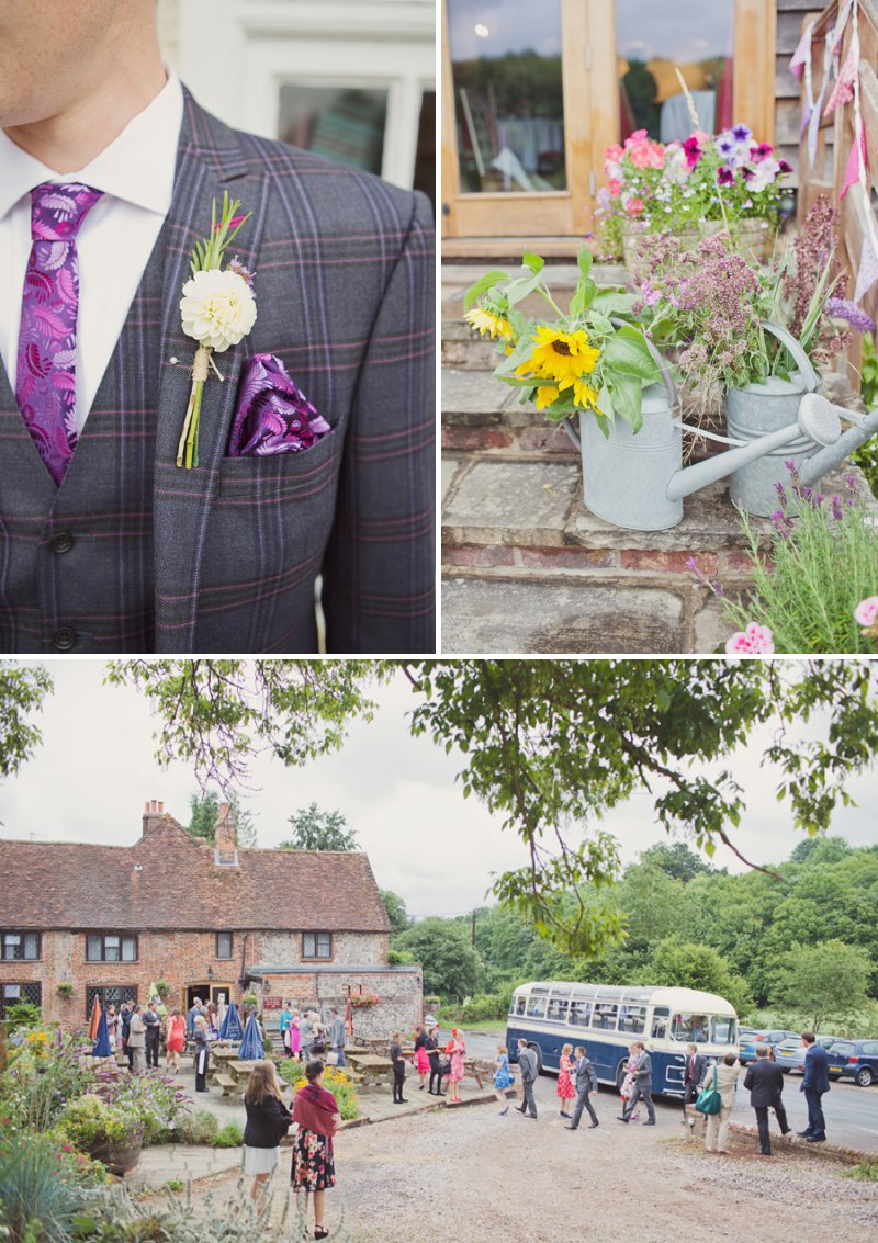 A Rustic Wedding At The Crown Inn Pishill With Bride In Bespoke Lace Gown And Groom In Tweed Suit From Clements And Church With Bunting And An Vintage VW Campervan Images From Cotton Candy Wedding Photography 6