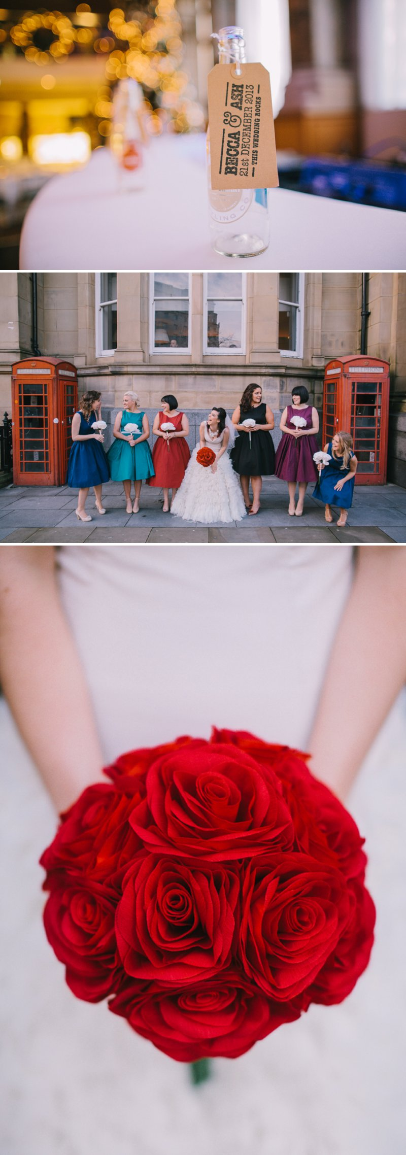 Contemporary Christmas Wedding At Aspire Leeds With Bride In Vivienne Westwood Pumps And A Statement J Crew Necklace With Groom In Ted Baker Suit And Bridesmaids In Brightly Coloured Lindy Bop Dresses Images From Chris Barber Photography 1