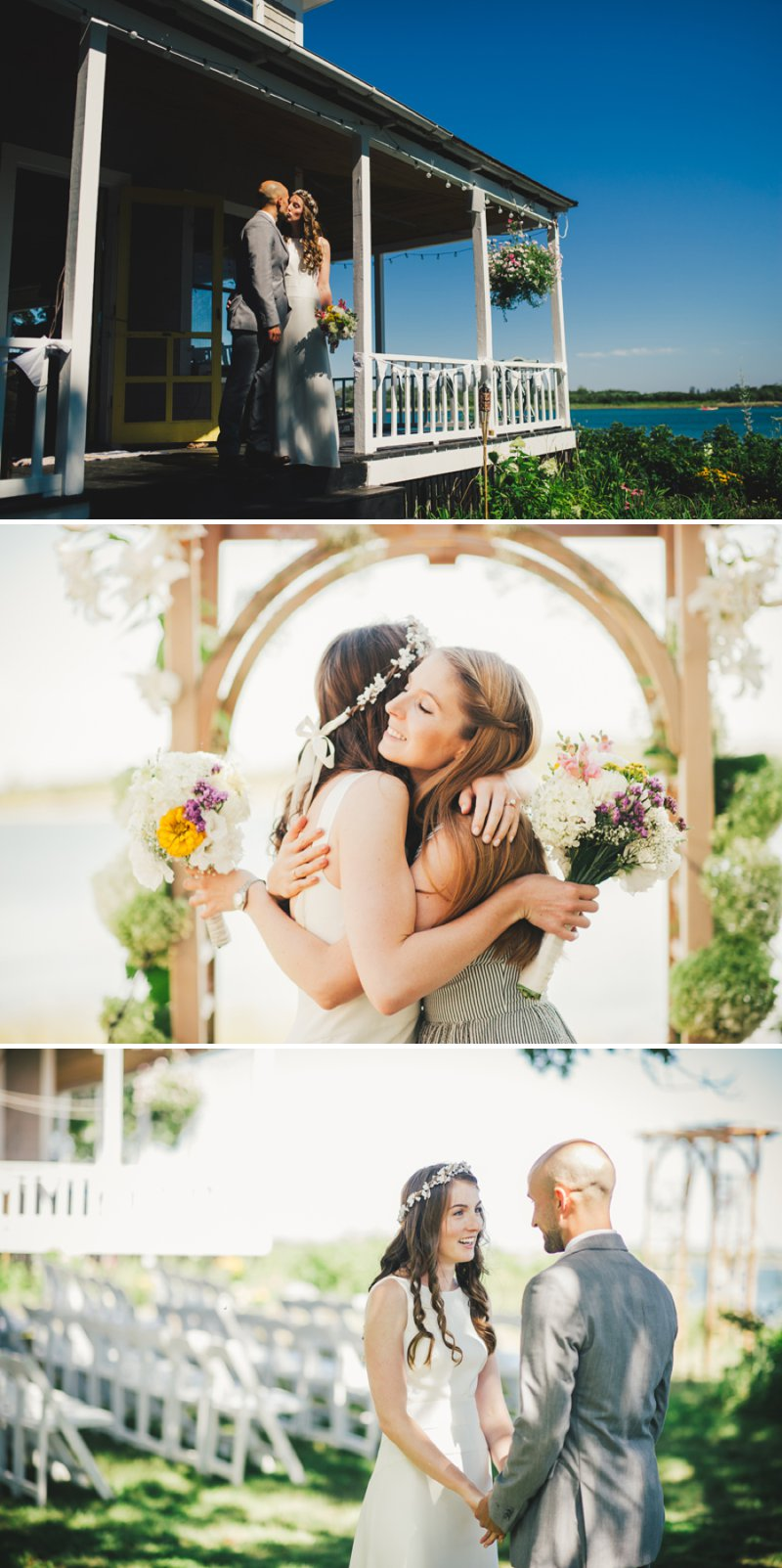 Elegant Wedding By The Sea In Maine USA With Bride In J Crew Dress And Groom In Navy Banana Republic Suit With An Outdoor Ceremony At The Brides Family Home With Beautiful Photography From Rebekah J Murray 1