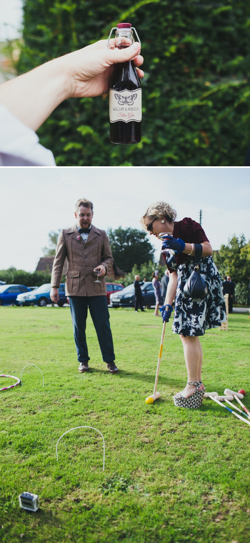 Vintage Inspired DIY Wedding At Kingston Village Hall With Bride In 50s Style Tea Length Gown And Groom In Topman Suit With Red Shoes And Knitted Bouquets, Ties And Corsages With Fete Games And A Coconut Shy 6