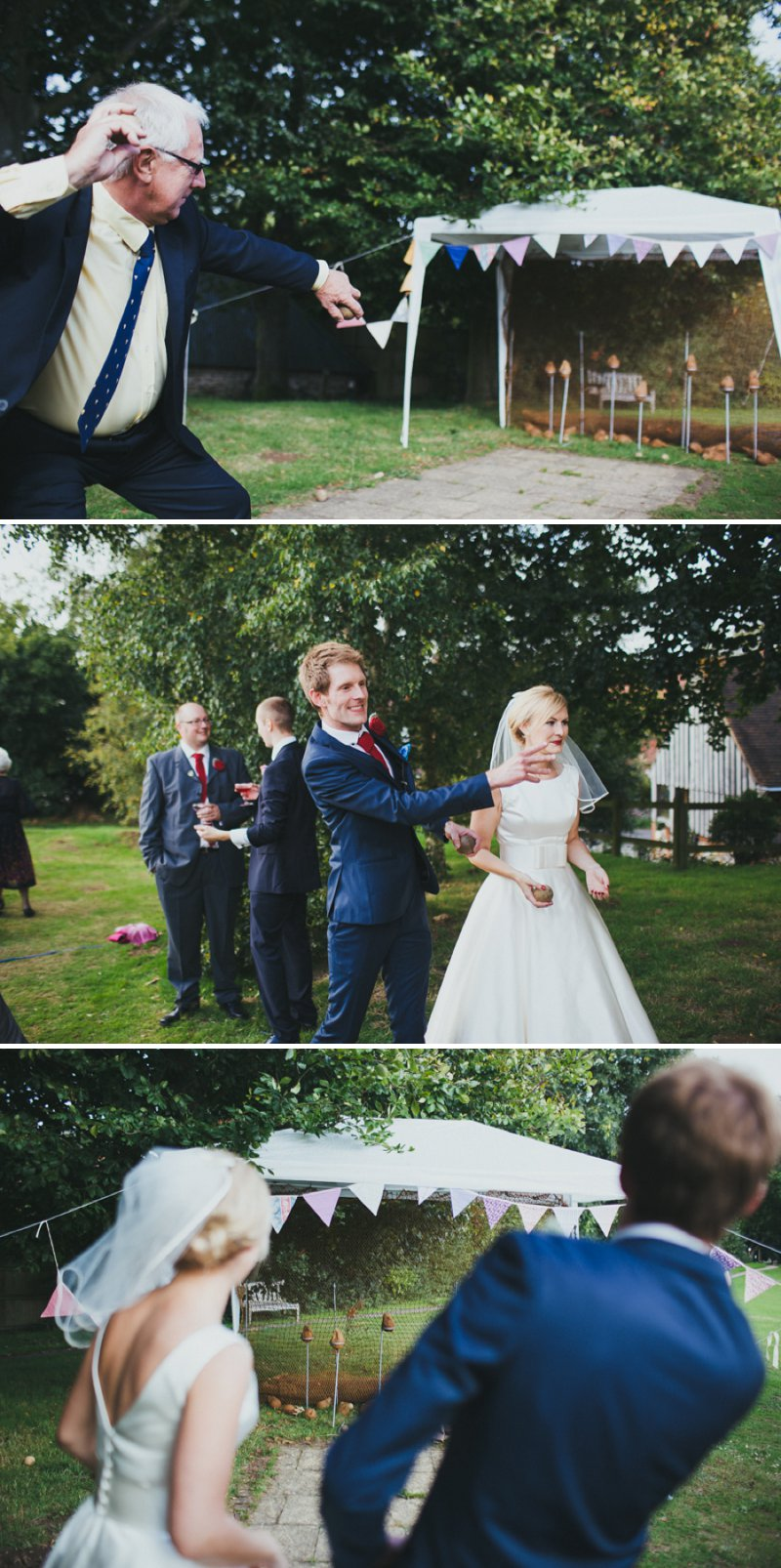 Vintage Inspired DIY Wedding At Kingston Village Hall With Bride In 50s Style Tea Length Gown And Groom In Topman Suit With Red Shoes And Knitted Bouquets, Ties And Corsages With Fete Games And A Coconut Shy 7