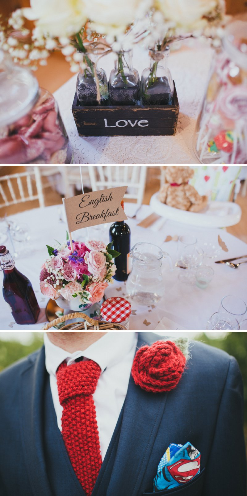 Vintage Inspired DIY Wedding At Kingston Village Hall With Bride In 50s Style Tea Length Gown And Groom In Topman Suit With Red Shoes And Knitted Bouquets, Ties And Corsages With Fete Games And A Coconut Shy 8