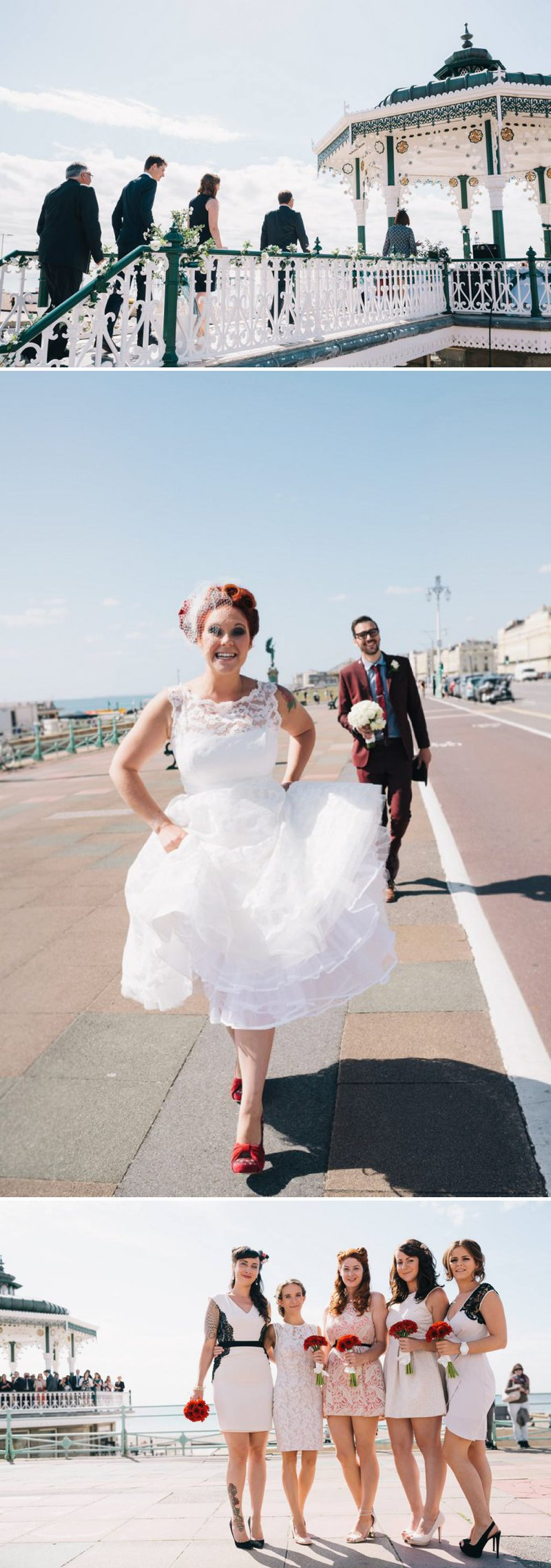 50s Mod Inspired Wedding With An Outdoor Ceremony At Brighton Bandstand And Reception At Stanmer House With Bride In Candy Anthony Gown And Red Irregular Choice Shoes With Groom In Burgundy Suit 1