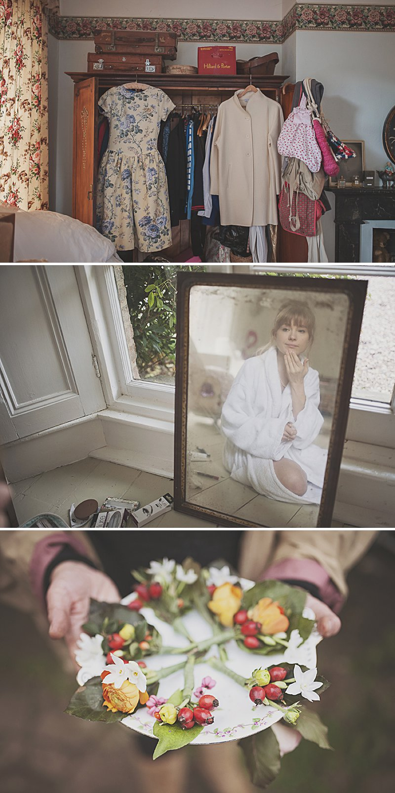 A DIY Wedding with homemade flowers, flamingo art, a polytunnel ceremony, apples, pumpkins, vintage dress and suit and vegetable bouquets.  Apple sharing ceremony at home with photography by Camilla Rosa_0002