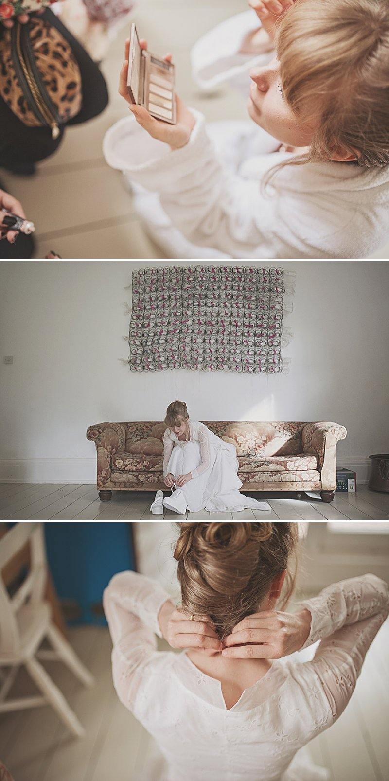 A DIY Wedding with homemade flowers, flamingo art, a polytunnel ceremony, apples, pumpkins, vintage dress and suit and vegetable bouquets.  Apple sharing ceremony at home with photography by Camilla Rosa_0003