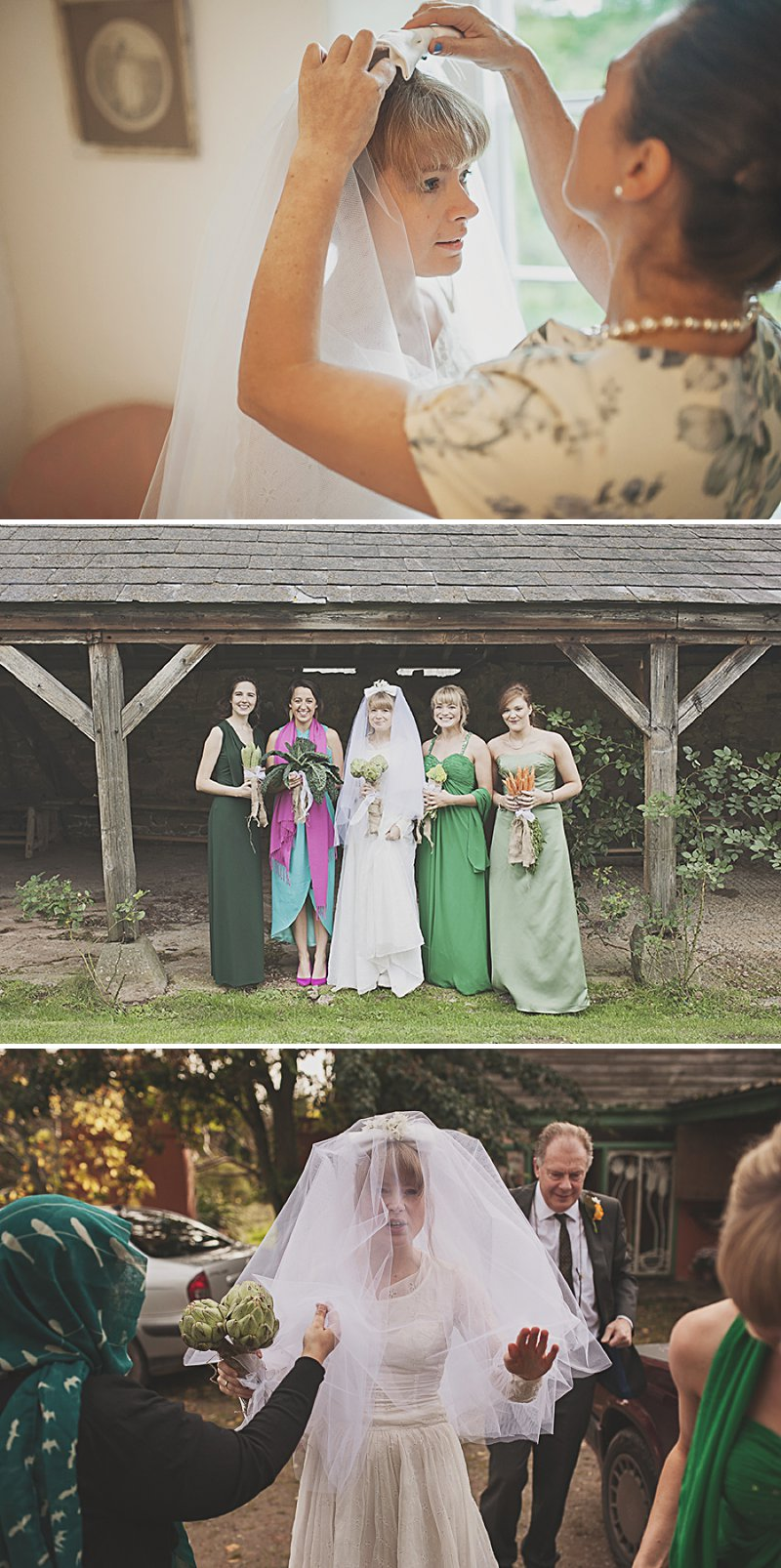 A DIY Wedding with homemade flowers, flamingo art, a polytunnel ceremony, apples, pumpkins, vintage dress and suit and vegetable bouquets.  Apple sharing ceremony at home with photography by Camilla Rosa_0004