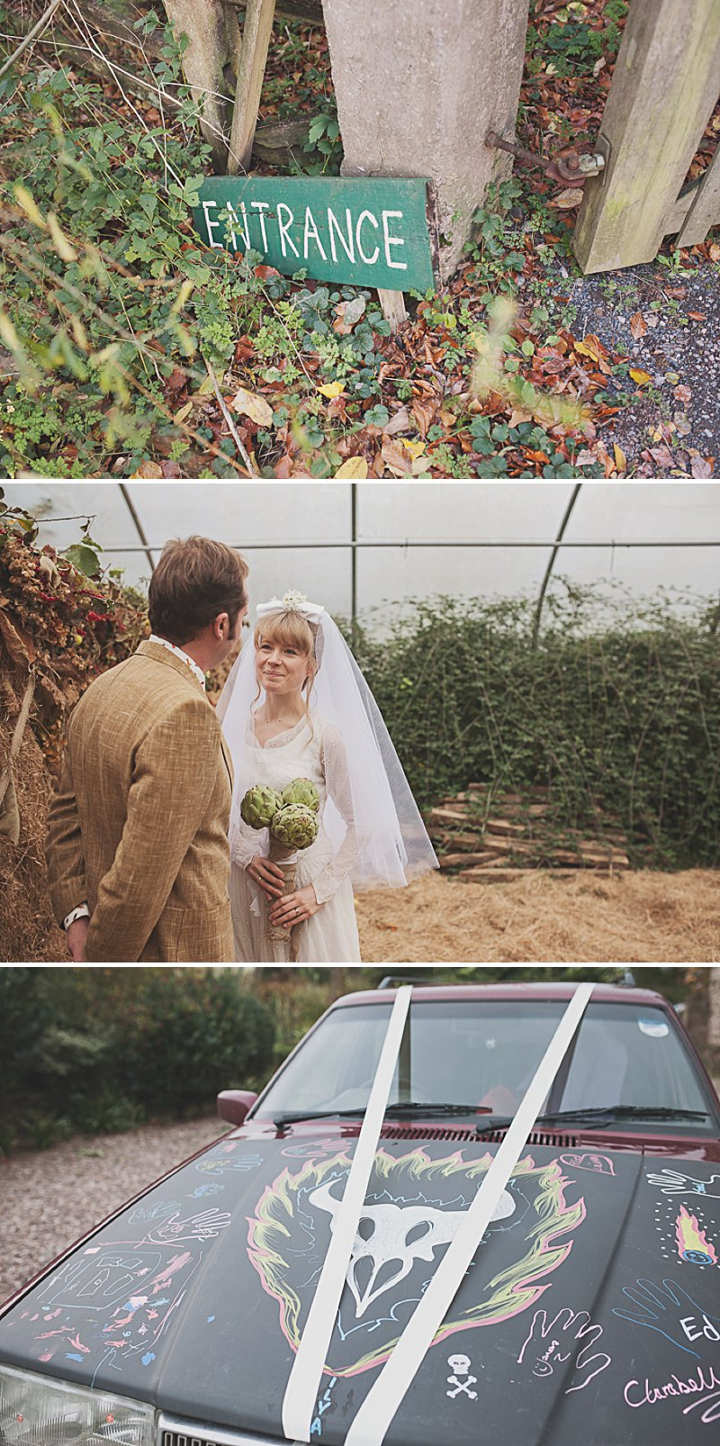 A DIY Wedding with homemade flowers, flamingo art, a polytunnel ceremony, apples, pumpkins, vintage dress and suit and vegetable bouquets.  Apple sharing ceremony at home with photography by Camilla Rosa_0005