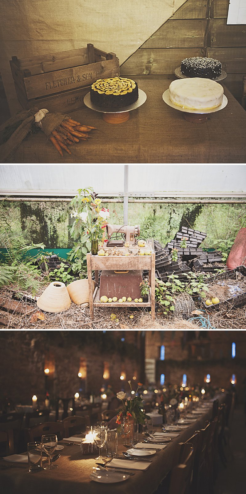 A DIY Wedding with homemade flowers, flamingo art, a polytunnel ceremony, apples, pumpkins, vintage dress and suit and vegetable bouquets.  Apple sharing ceremony at home with photography by Camilla Rosa_0006