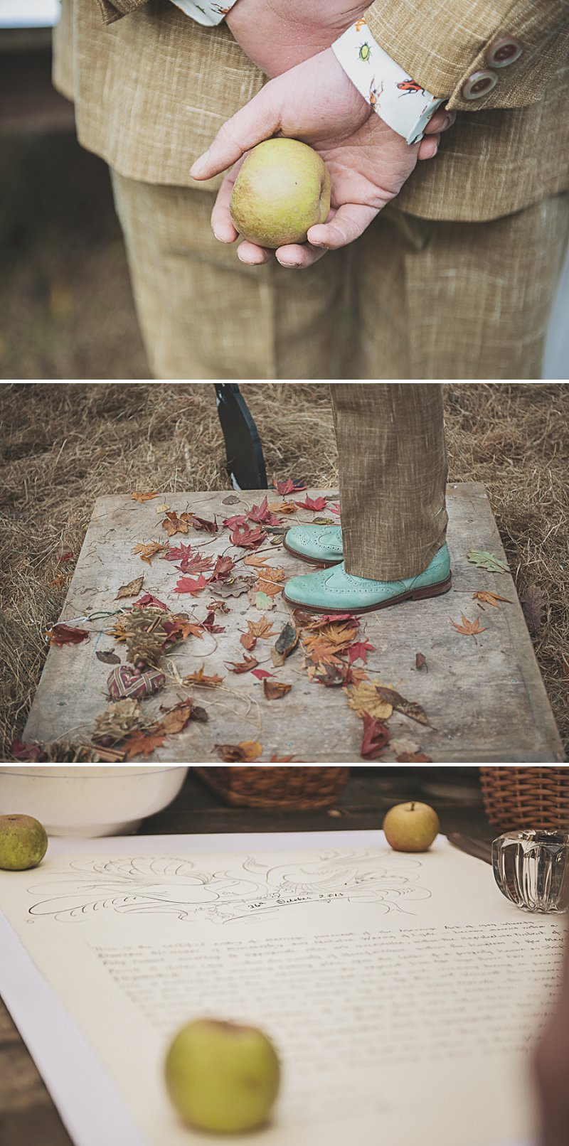 A DIY Wedding with homemade flowers, flamingo art, a polytunnel ceremony, apples, pumpkins, vintage dress and suit and vegetable bouquets.  Apple sharing ceremony at home with photography by Camilla Rosa_0008