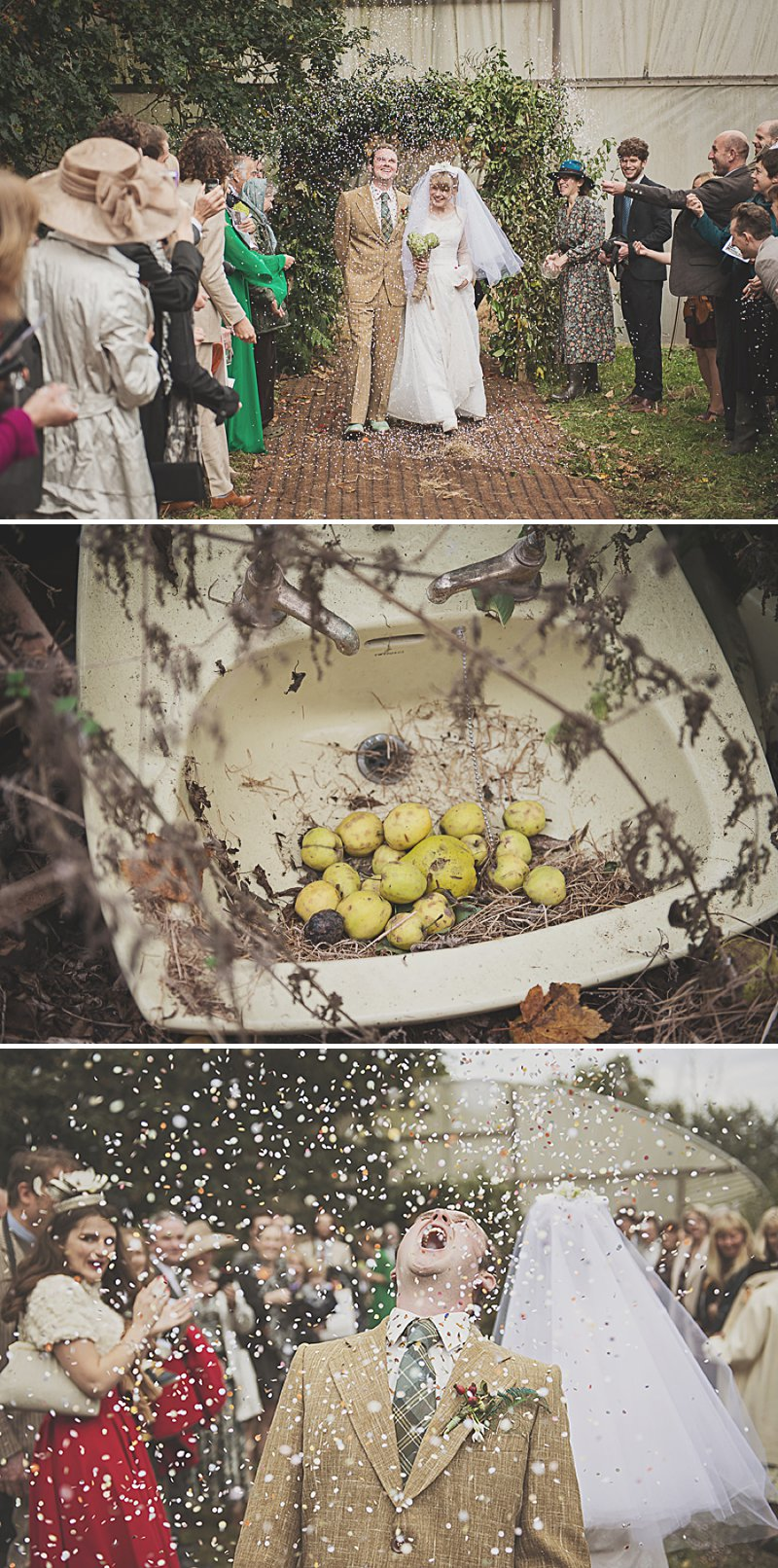 A DIY Wedding with homemade flowers, flamingo art, a polytunnel ceremony, apples, pumpkins, vintage dress and suit and vegetable bouquets.  Apple sharing ceremony at home with photography by Camilla Rosa_0010