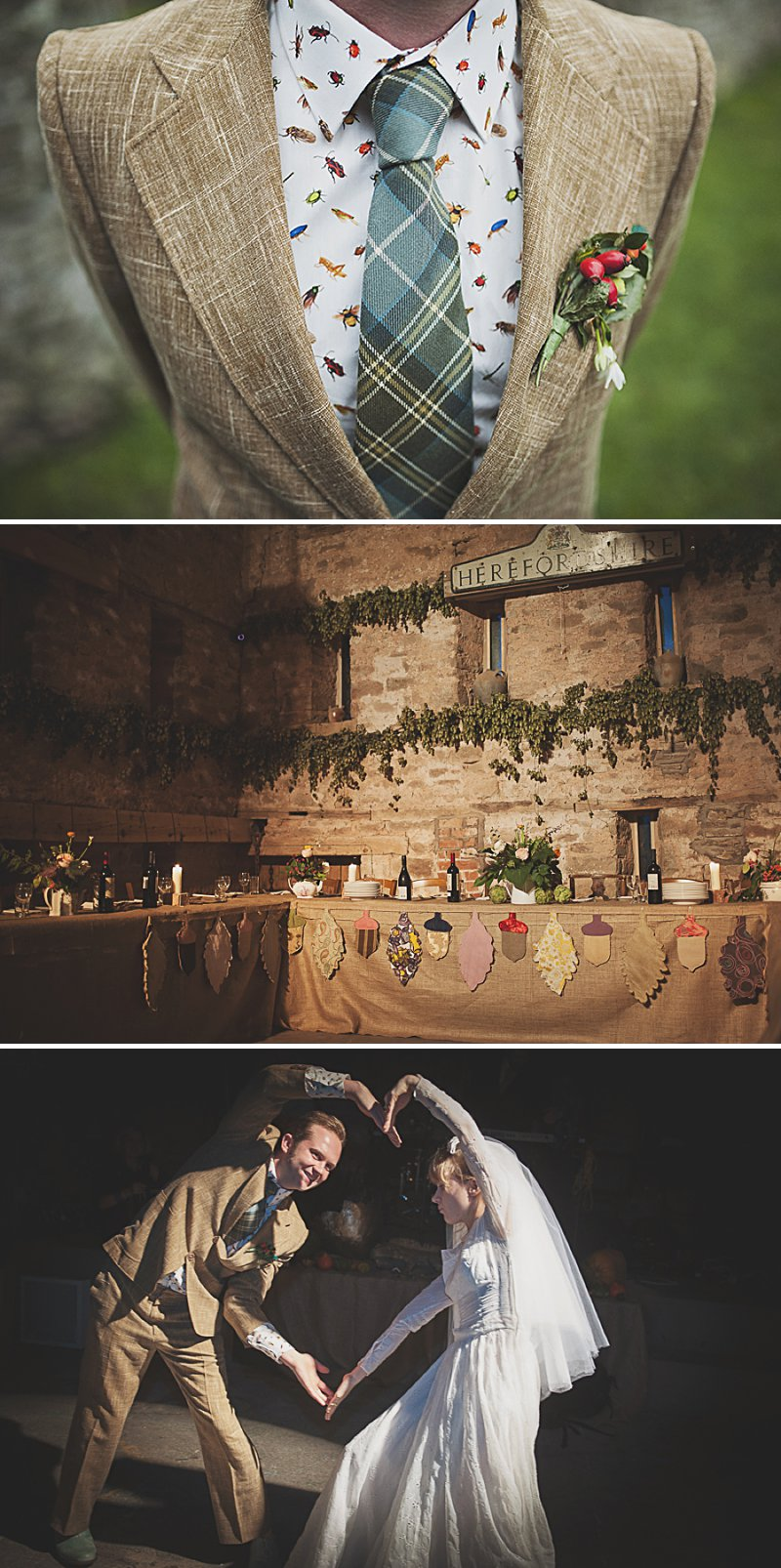A DIY Wedding with homemade flowers, flamingo art, a polytunnel ceremony, apples, pumpkins, vintage dress and suit and vegetable bouquets.  Apple sharing ceremony at home with photography by Camilla Rosa_0012