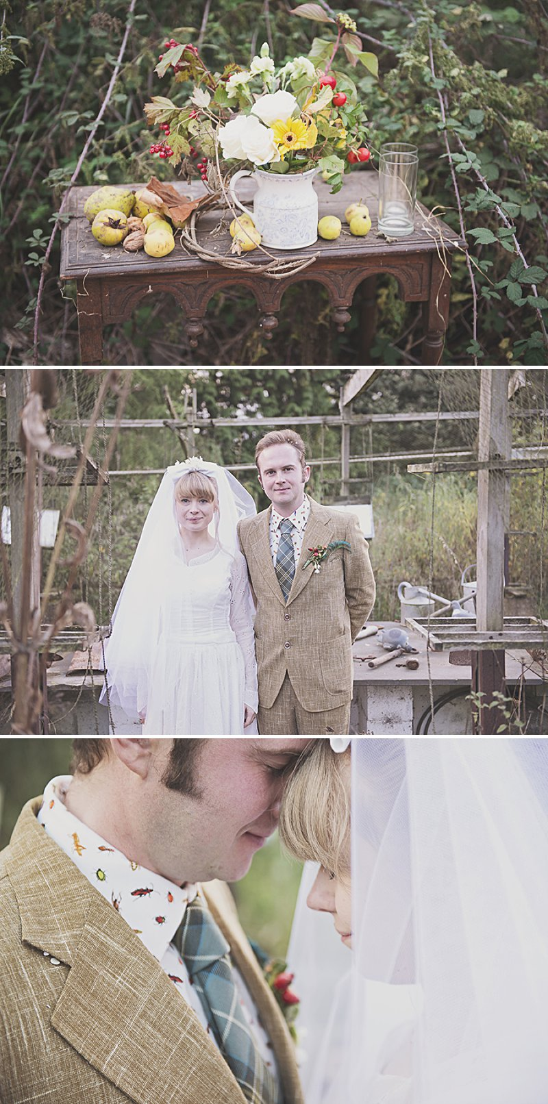 A DIY Wedding with homemade flowers, flamingo art, a polytunnel ceremony, apples, pumpkins, vintage dress and suit and vegetable bouquets.  Apple sharing ceremony at home with photography by Camilla Rosa_0013