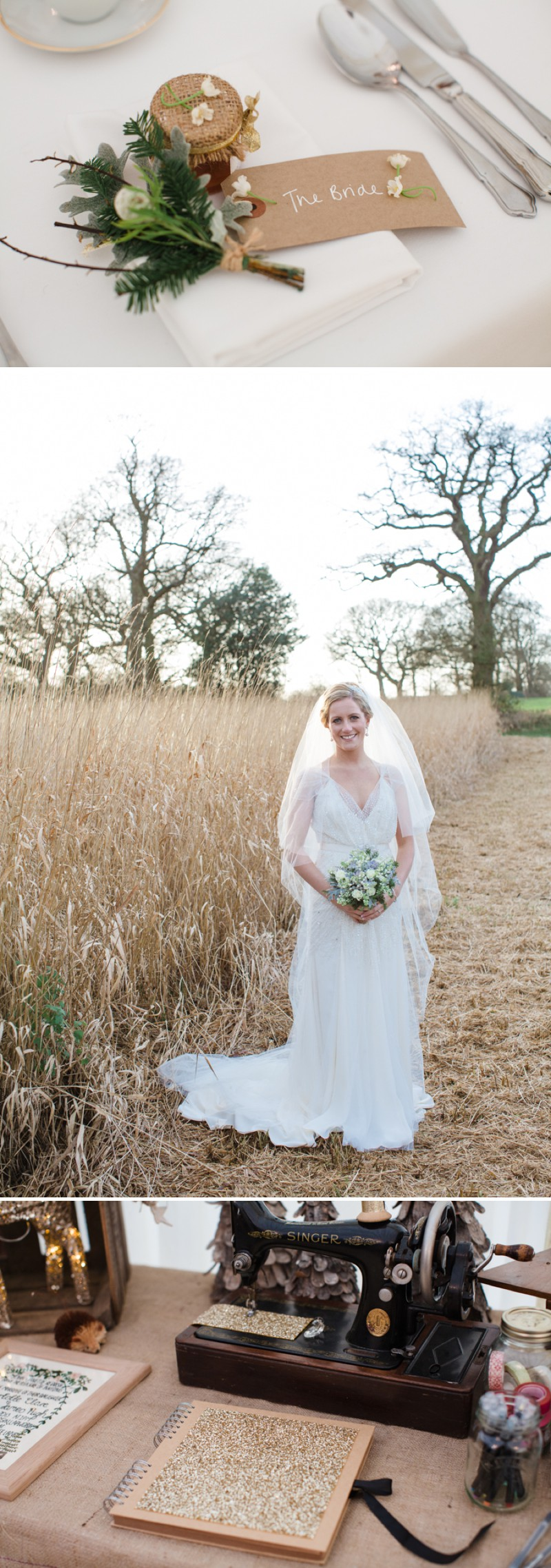 A Warm Winter Glamorous Rustic Wedding With A Jenny Packham Dress And Blue Toned Bouquet With Photography By Lucy Davenport._0008