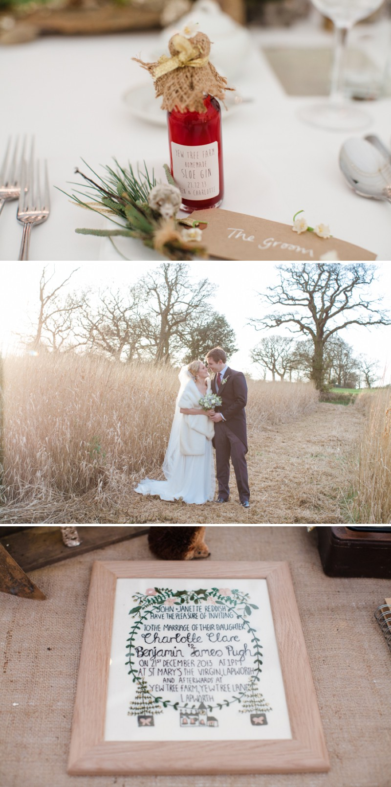 A Warm Winter Glamorous Rustic Wedding With A Jenny Packham Dress And Blue Toned Bouquet With Photography By Lucy Davenport._0009