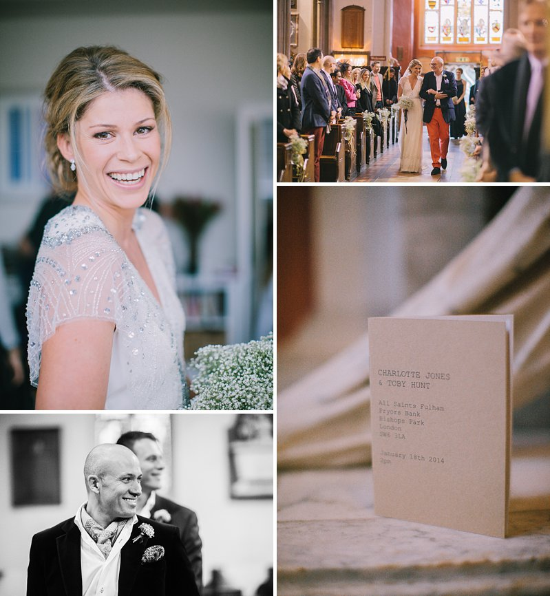 A cool and contemporary english city wedding in London with Jenny Packham dress and lots of DIY home made elements. Bridesmaids in Coast and Photography by Chris Barber_0005