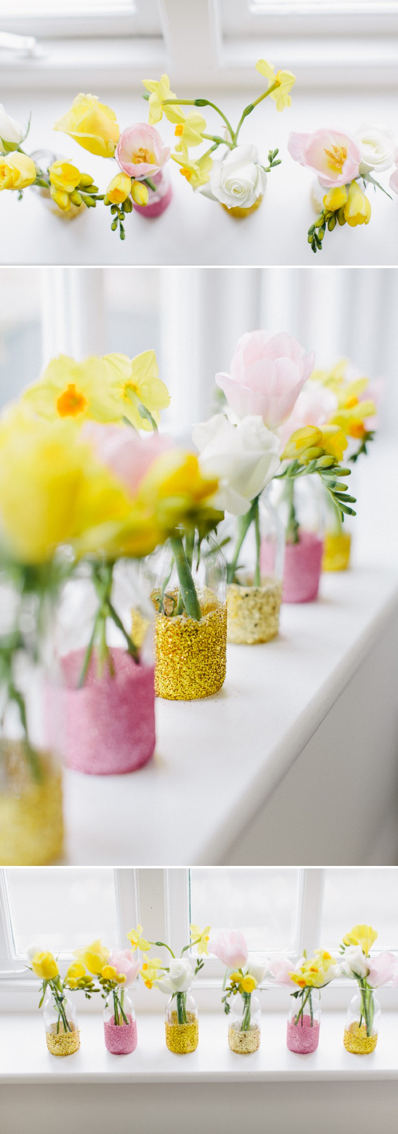 How to create a golden glittery jar bud vase for your wedding table settings and floral centrepieces._0005