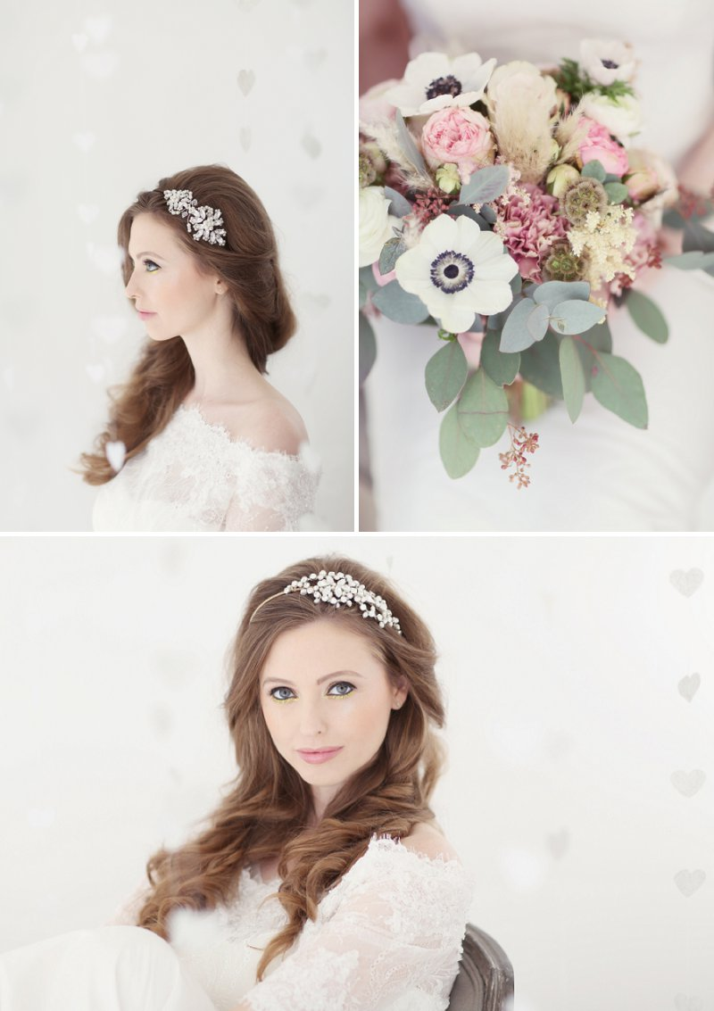 Pastel Valentines Day Inspired Bridal Shoot Featuring Hair Accessories From Corrine Smith Design With Flowers From I Heart Flowers And Images By Eva Sanders Photography 2
