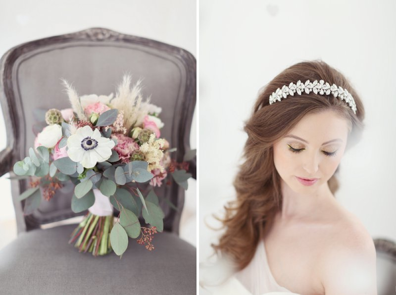Pastel Valentines Day Inspired Bridal Shoot Featuring Hair Accessories From Corrine Smith Design With Flowers From I Heart Flowers And Images By Eva Sanders Photography 8