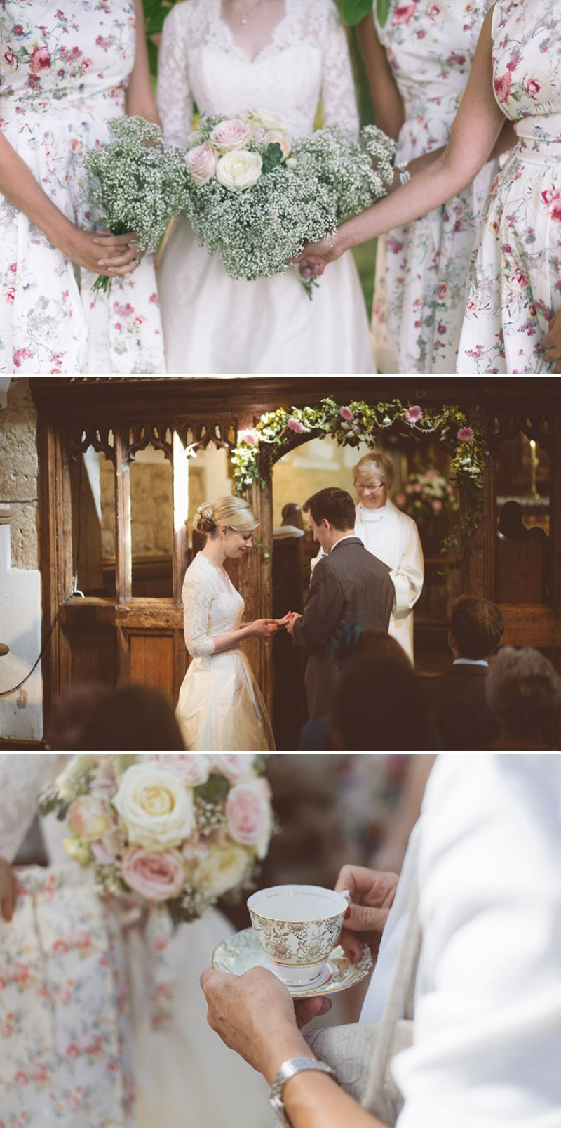 Rustic Wedding At Creslow Manor With Bride In Lace Paloma Blanca Gown With Groom In Morning Dress And Bridesmaids In Floral Print Dresses And Roses And Gypsophila In Bouquets Images By Joseph Hall 1