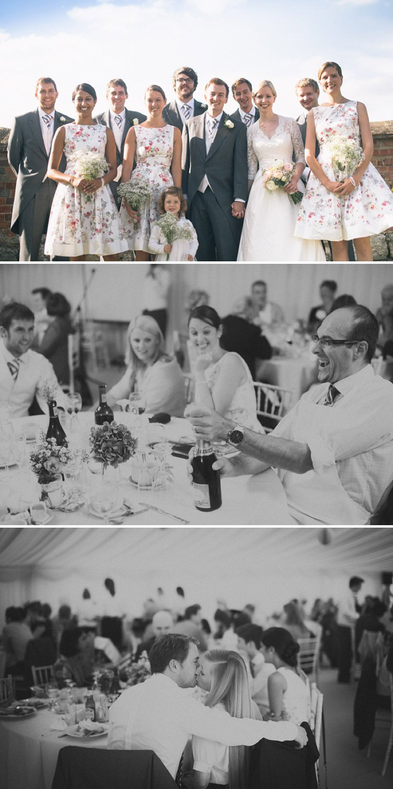 Rustic Wedding At Creslow Manor With Bride In Lace Paloma Blanca Gown With Groom In Morning Dress And Bridesmaids In Floral Print Dresses And Roses And Gypsophila In Bouquets Images By Joseph Hall 9