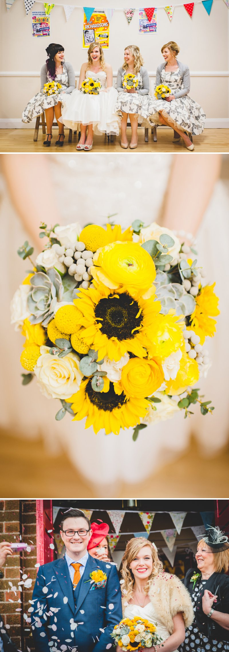 A 50s Inspired Wedding At Burton Joyce Village Hall With Yellow And Grey Colour Accents And Bride In A Tea Length Gown By Sincerity Bridal With Groom In Reiss And Bridesmaids In Butterfly Print Dresses 1