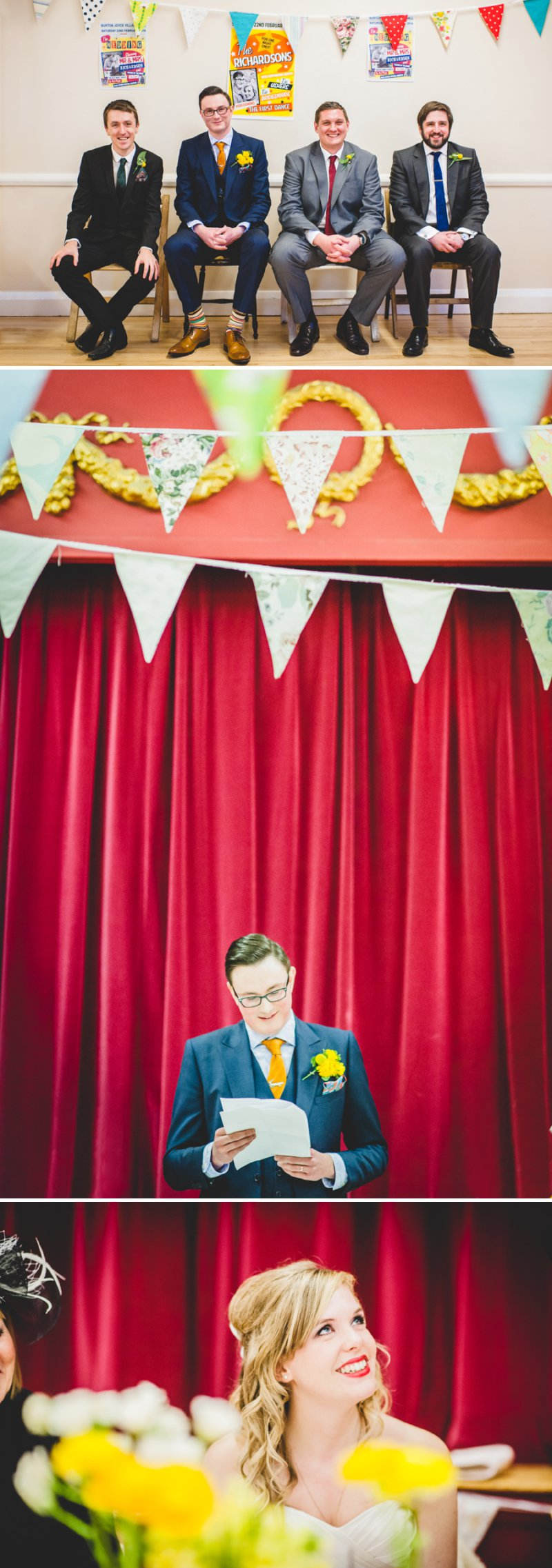 A 50s Inspired Wedding At Burton Joyce Village Hall With Yellow And Grey Colour Accents And Bride In A Tea Length Gown By Sincerity Bridal With Groom In Reiss And Bridesmaids In Butterfly Print Dresses 10