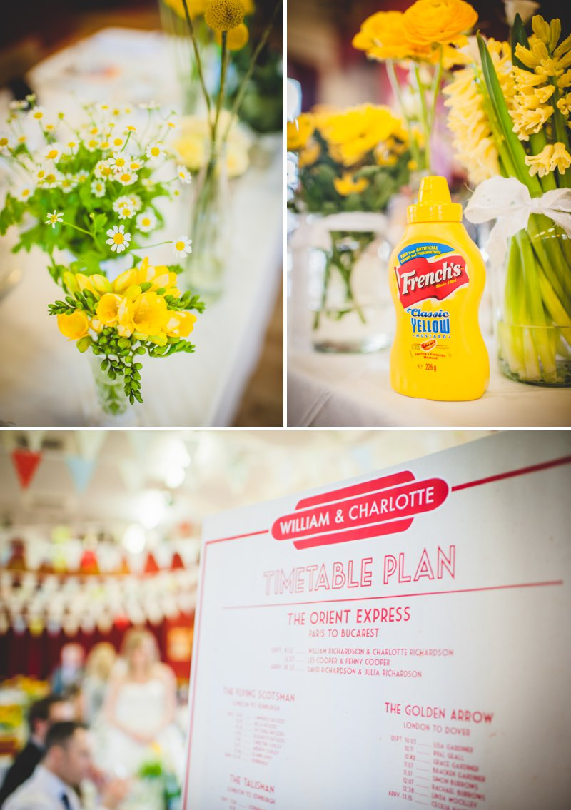 A 50s Inspired Wedding At Burton Joyce Village Hall With Yellow And Grey Colour Accents And Bride In A Tea Length Gown By Sincerity Bridal With Groom In Reiss And Bridesmaids In Butterfly Print Dresses 6
