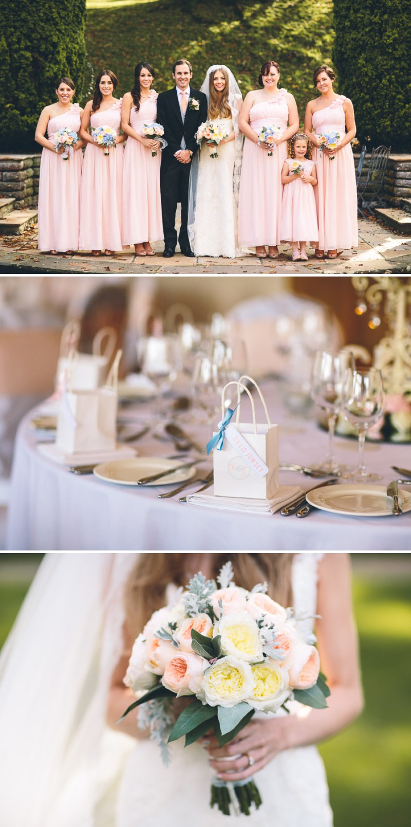 A Elegant And Classic English Wedding At Coombe Lodge With A Pronovias 'Balta' Dress With A Peach And Duck Egg Blue Colour Scheme Photographed By Albert Palmer._0007